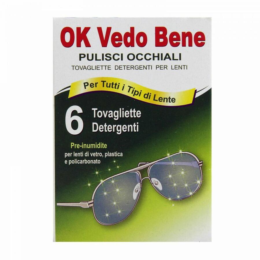 Ok Vedo Bene 6pz tovagliette detergenti per la pulizia degli occhiali