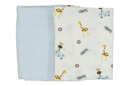 Beberotti Mussole per Neonati e Bambini in Cotone 75x90 cm Certificato Oeko-tex Azzurro e Bianco - Giraffe