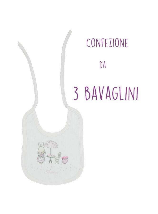 Bebitof Set Bavaglino Neonata in Cotone 100% Bianco - Play Time - 3 Pezzi