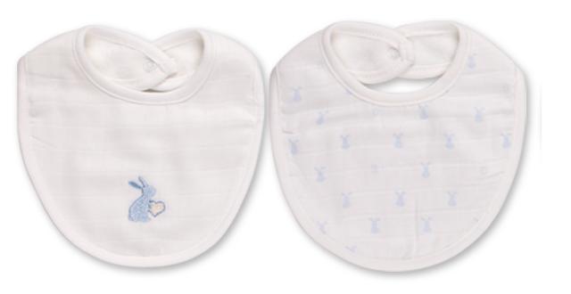 Babydola Set 2 Bavaglini Neonati in Cotone e Mussola Doppio Strato Bianco Coniglietto Azzurro