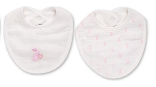 Babydola Set 2 Bavaglini Neonati in Cotone e Mussola Doppio Strato Bianco Coniglietto Rosa