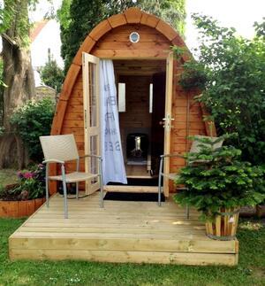 Sauna Pod in legno di pino nordico con spogliatoio Mod. Julia 2,40 x 3,00 - 46mm