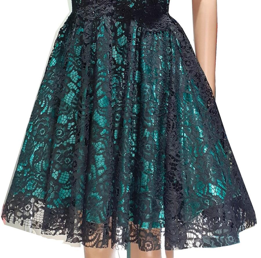 0678 MULTILAYER BABY DRESS IN MACRAME LACE LINED WITH GREEN SATIN