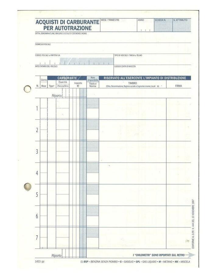BLOCCO ACQUISTI DI CARBURANTE PER AUTOTRAZIONE DU145300000 DATA UFFICIO
