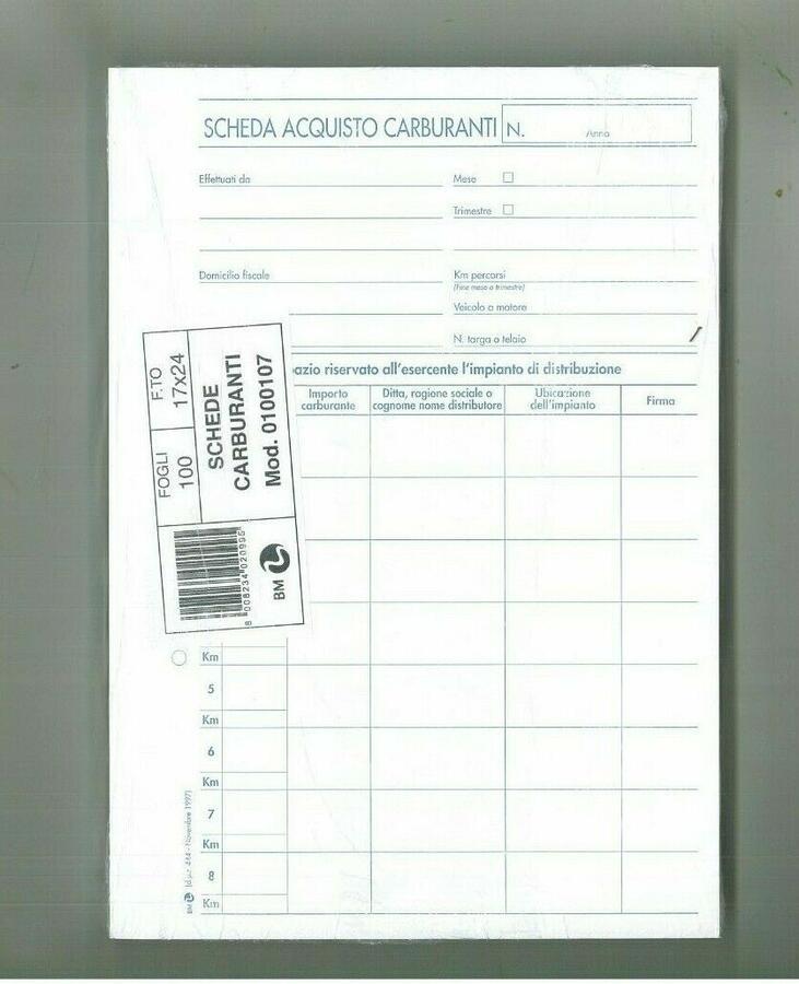 SCHEDA ACQUISTO CARBURANTI 100 FOGLI MOD. 0100107 BUSINESS & MORE