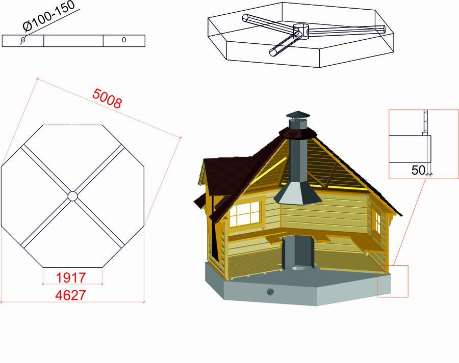 Grill Kota ottagonale con Grill e Camino Mod. Kamila 16,5 m - 45 mm.