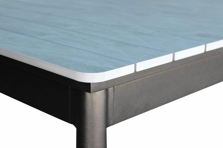 Tavolo da giardino in alluminio BIBBIONE MINI ANTRACITE 160 / 240 x 90 h 76 piano polywood ruvido grigio colore grigio