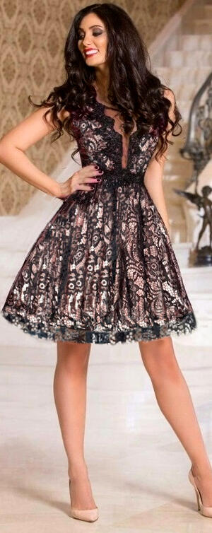 0676 MULTILAYER BABY DRESS IN MACRAME 'LACE LINED WITH PINK SATIN