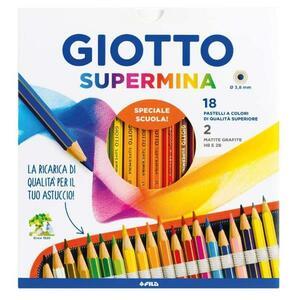 GIOTTO  SUPERMINA ASTUCCIO 18 PASTELLI + 2 MATITE GRAFITE HB E 2B