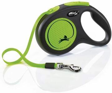 Flexi New Neon Verde Guinzaglio a Fettuccia Per Cani Fluorescente 5 Metri Max 25 kg