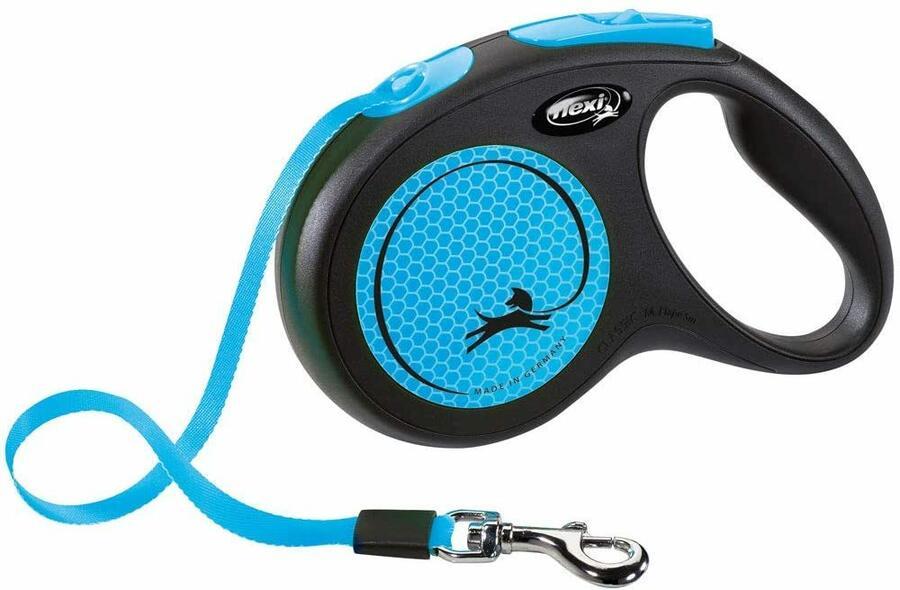Flexi New Neon Blu Guinzaglio a Fettuccia Per Cani Fluorescente 5 Metri Max 25 kg