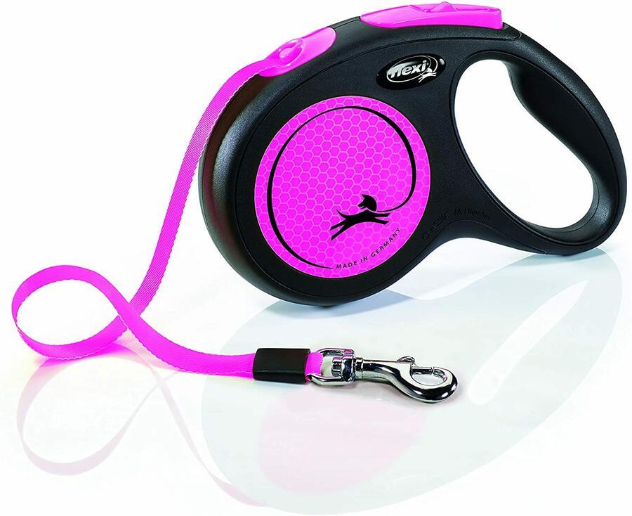 Flexi New Neon Fucsia Guinzaglio a Fettuccia Per Cani Fluorescente 5 Metri Max 25 kg