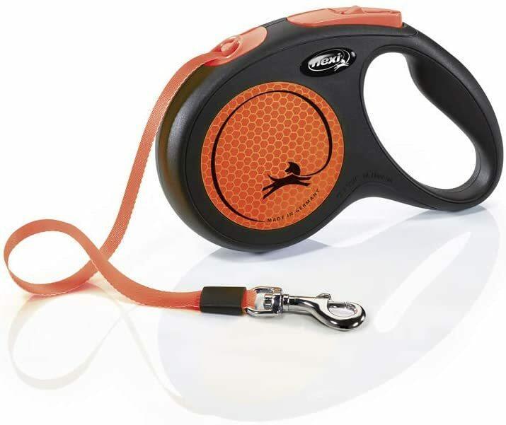 Flexi New Neon Arancione Guinzaglio Fettuccia Per Cani Fluorescente 5 Metri Max 25 kg