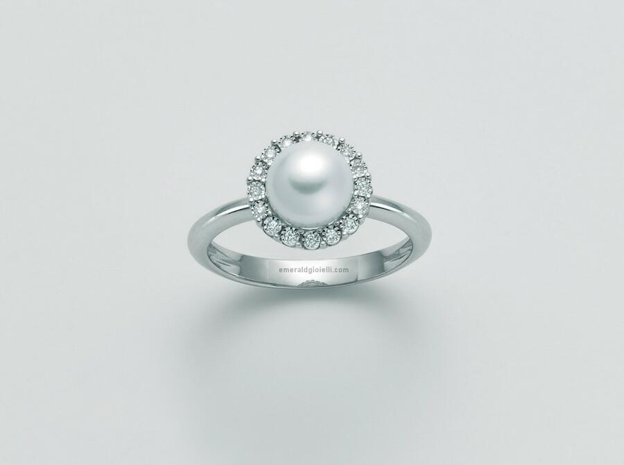 PLI1632 Anello con perla e diamanti Miluna -