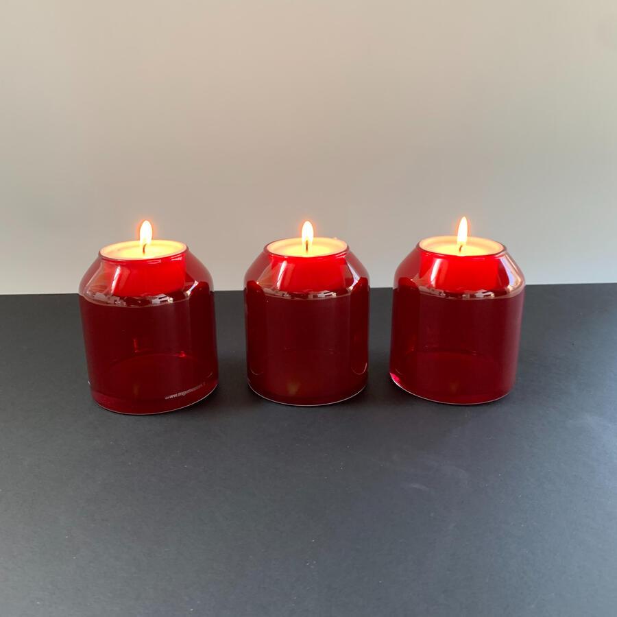 Candele Vetro Rosso Traslucido