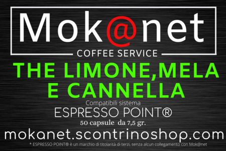 "100 CAPSULE COMPATIBILI ESPRESSO POINT MOK@NET ""THE LIMONE, MELA E CANNELLA"""