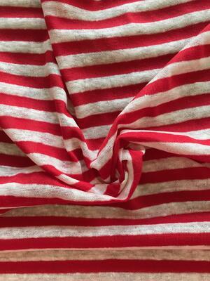 Maglina Jersey a coste righe rosse e bianche