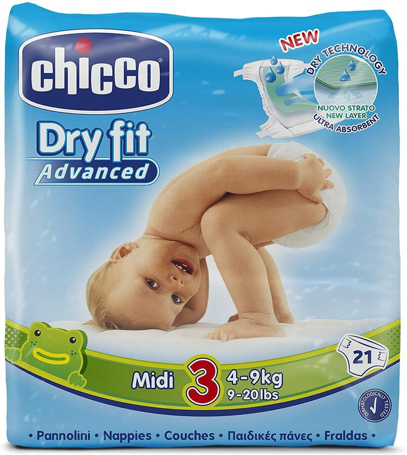 Chicco - 21 pannoloni Dry Fit Advanced Midi 3, 4 -9 kg
