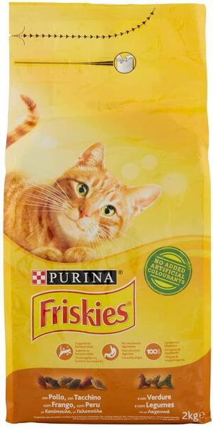Friskies Adult Crocchette per il Gatto, con Pollo, Tacchino e Olive Aggiunte, 2 kg