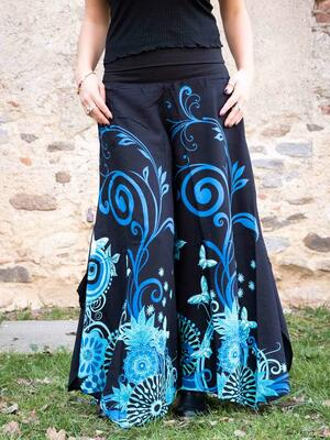 Woman's flared trousers Keertana - butterfly black & blue