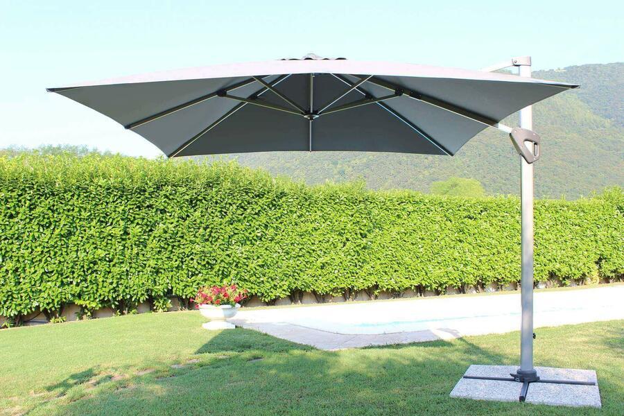 Ombrellone palo laterale da giardino DARWING GRIGIO 3 X 3 telo grigio