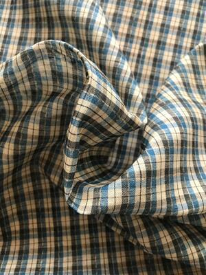 Cotone con quadretti blu e crema