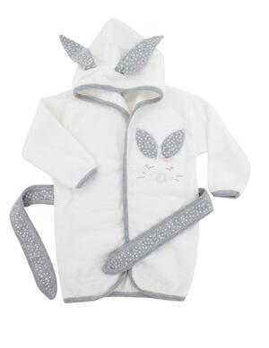 Babydola  Set Asciugamani Bambini - Asciugamano Neonato con Cappuccio a Triangolo e Accappatoio Cotone 100%  Guanto e Babbucce  0/24 Mesi - Bianco