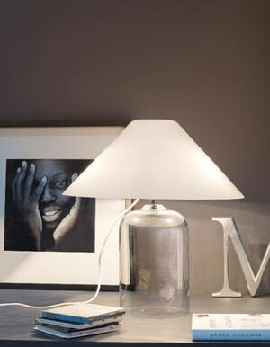 Lampada da Tavolo ALEGA in Vetro Bianco Lucido e Cristallo di Vetreria Vistosi - Offerta di Mondo Luce 24