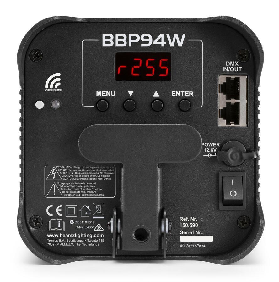 BeamZ -  BBP94W BATTERIA UPLIGHT PAR 4X12W WDMX