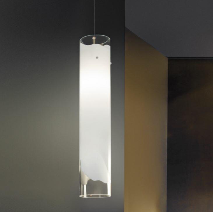 Lampada a Sospensione LIO al LED in Vetro Bianco e Cristallo Trasparente di Vetreria Vistosi, Varie Misure - Offerta di Mondo Luce 24
