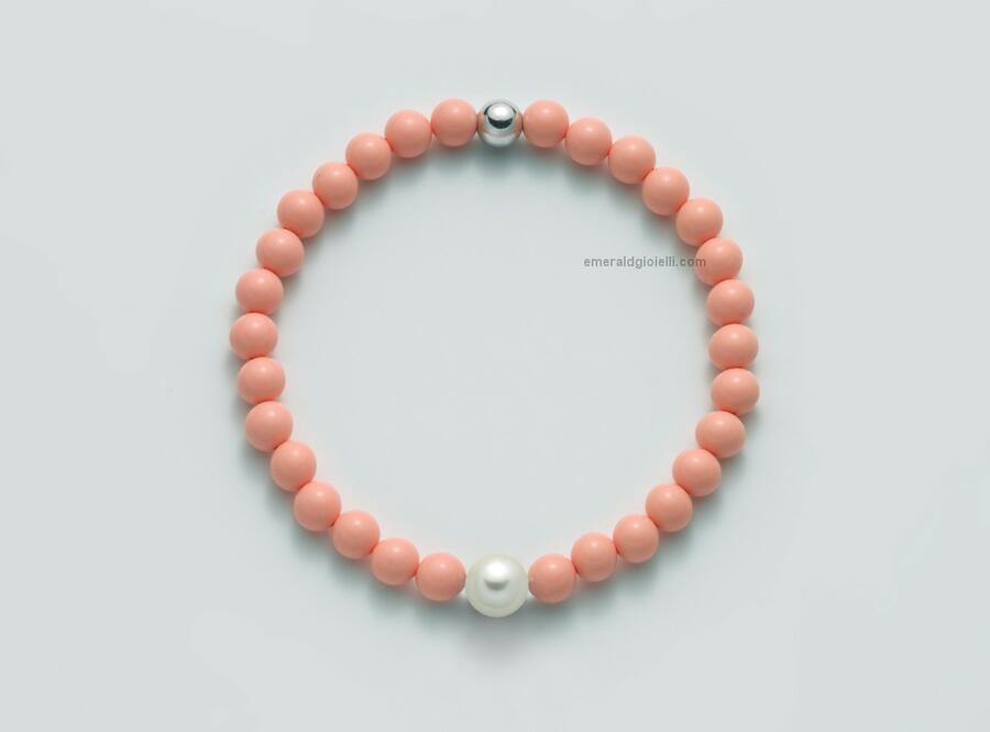 PBR3207 Bracciale color Corallo Rosa e perla Miluna