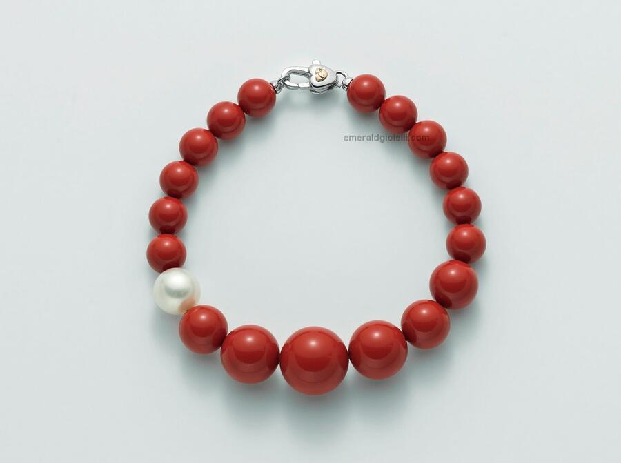 PBR1802V Bracciale con Corallo Rosso e Perla Miluna
