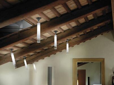 Lampada a Soffitto Orientabile in Vetro Bianco e Cristallo Trasparente di Vetreria Vistosi - Offerta di Mondo Luce 24