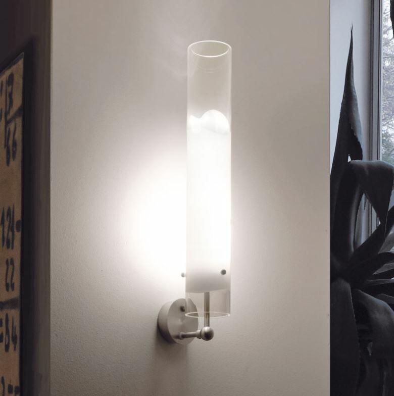 Lampada a Parete LIO in Vetro Bianco e Cristallo Trasparente di Vetreria Vistosi, Varie Misure - Offerta di Mondo Luce 24