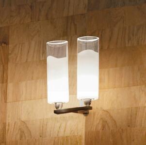 Lampada a Parete LIO a due Luci in Vetro Bianco e Cristallo Trasparente di Vetreria Vistosi - Offerta di Mondo Luce 24