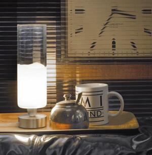 Lampada da Tavolo LIO in Vetro Bianco e Cristallo Trasparente con base in Metallo di Vetreria Vistosi - Offerta di Mondo Luce 24