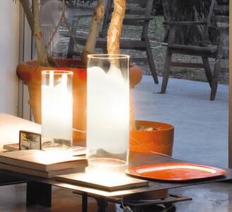 Lampada da Tavolo LIO in Vetro Bianco e Cristallo Trasparente di Vetreria Vistosi, Varie Misure - Offerta di Mondo Luce 24
