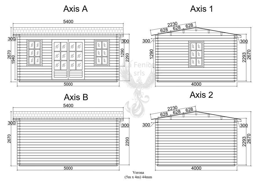 Casetta in legno 5,00 m x 4,00 m - Mod. Veronika - 44mm