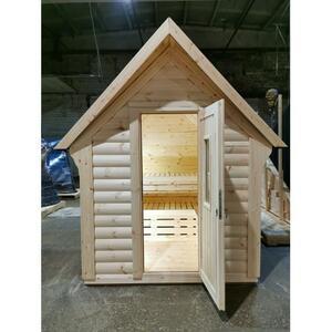 Mini Sauna in legno di pino nordico Mod. Tamara 1,88 x 2,20 incluso Riscaldatore elettrico - 46mm - Tetto coibentato