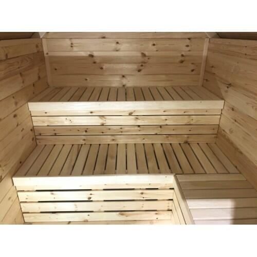 Mini Sauna in legno di pino nordico Mod. Tamara 1,88 x 2,20 incluso Riscaldatore elettrico - 46mm - Tetto e pavimento coibentati