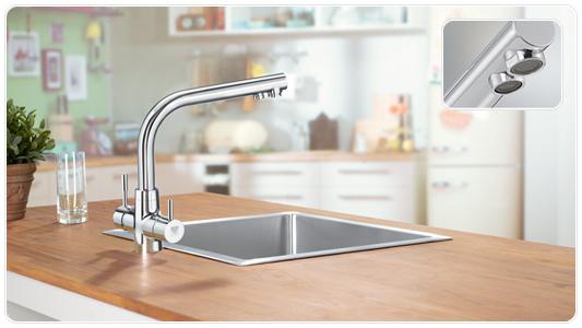Rubinetto da cucina inox con filtro acqua brita wd3020