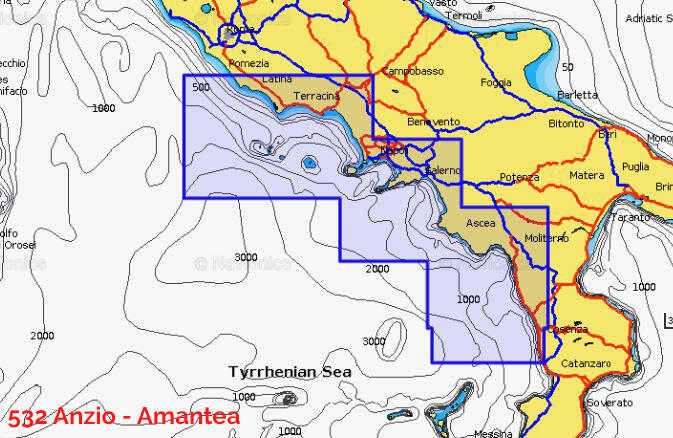 Cartografia Navionics da Anzio a Amantea