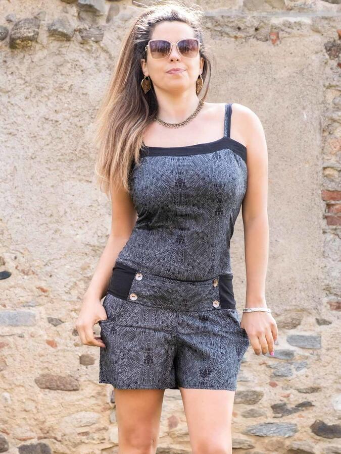 Jumpsuit donna corto con cintura Kalpana - grigio scuro