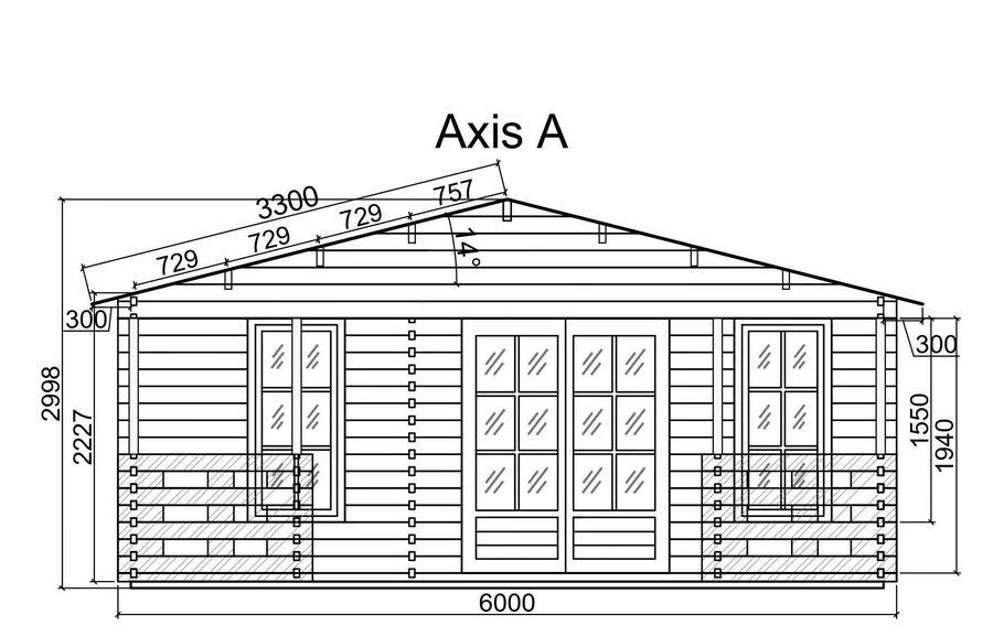 Casetta in legno 6,00 m x 6,00 m mod. Tevere con camera e vano bagno - Veranda compresa - 44 mm