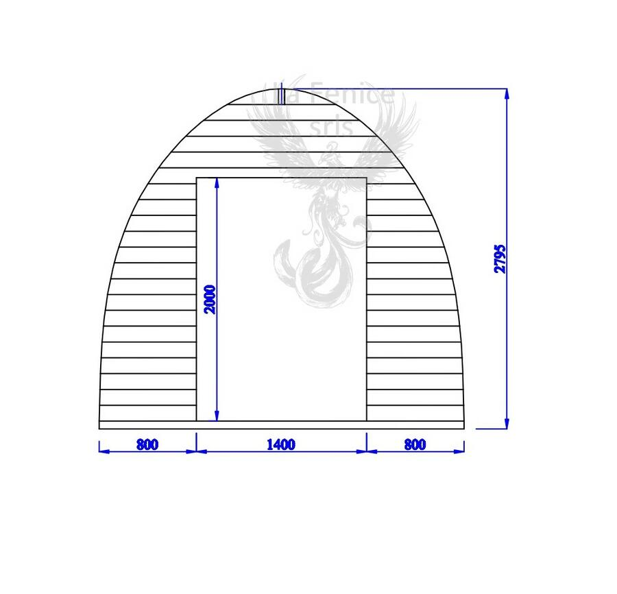 Camping Pod in legno di abete rosso nordico Mod. Déborah 3,00 x 3,00 - 44mm
