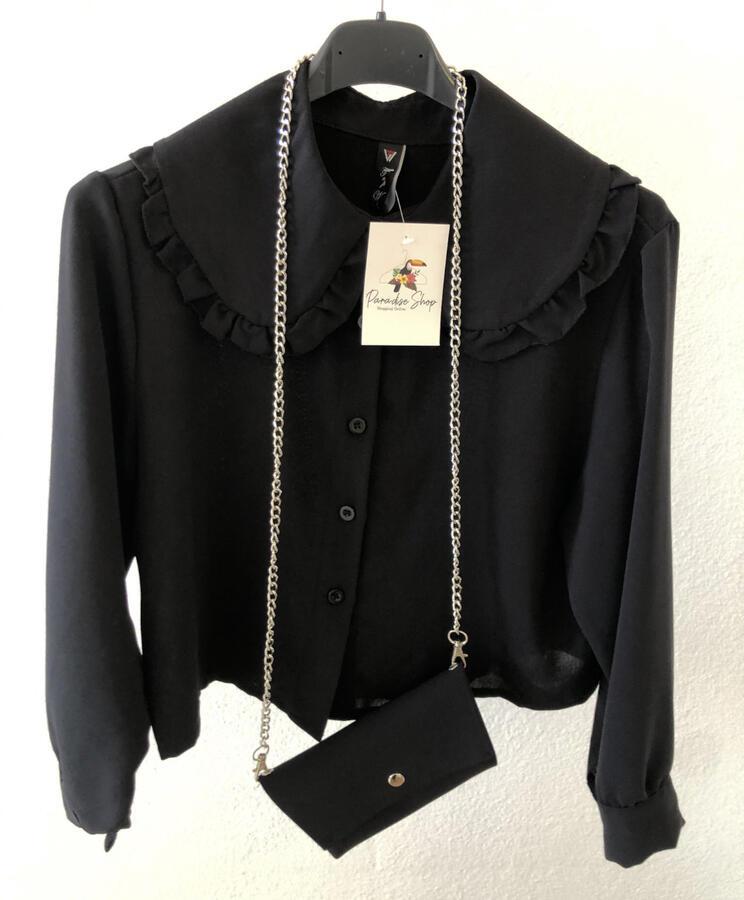 Camicia crop con colletto Peter Pan e mini borsa inclusa