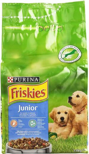 Purina Friskies Vitafit Junior Crocchette per il Cane, con Pollo e L'Aggiunta di Latte e Verdure, 1.5 Kg