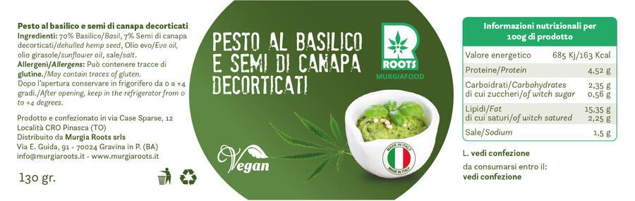 PESTO AL BASILICO CON  SEMI DI CANAPA DECORTICATI DA 130 GR.