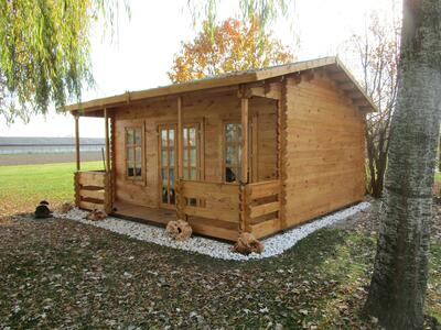 Casetta in legno 5,00 m x 5,10 m - Mod. Marika - 44mm - Compresa veranda