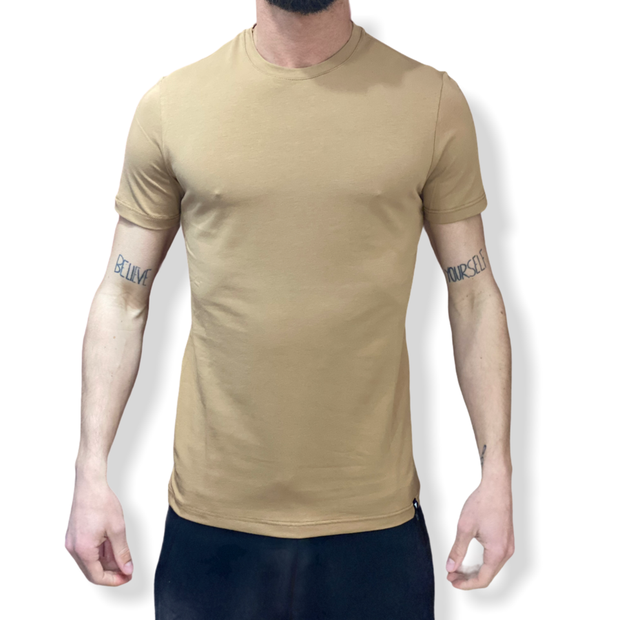 WHY NOT BRAND - T SHIRT BEIGE SLIM FIT T54